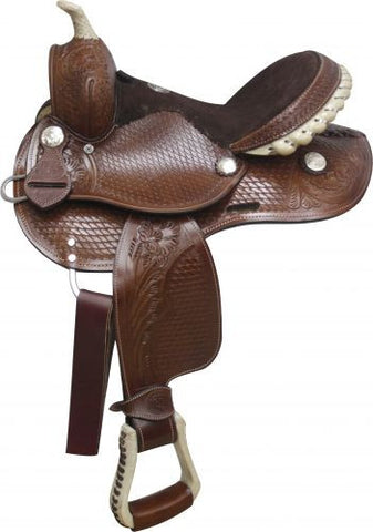 Basket Weave Pony Saddle with Rawhide Accents - SK Tack & Supply