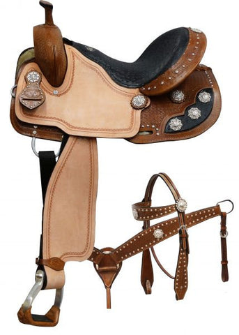 Black Alligator Print Barrel Style Saddle Set - SK Tack & Supply