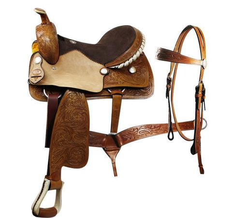 Floral Tooled Engraved Concho Pleasure Saddle Set - SK Tack & Supply