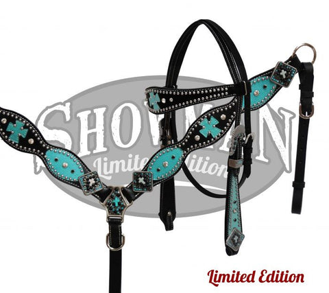 Turquoise and Black Leather Headstall & Breast Collar Set *Limited Edition* - SK Tack & Supply