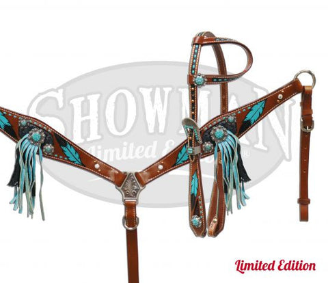 Fringed Turquoise Feather Headstall & Breast Collar Set *Limited Edition* - SK Tack & Supply