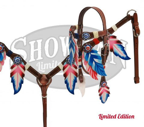Patriotic Feather Headstall & Breast Collar *Limited Edition* - SK Tack & Supply