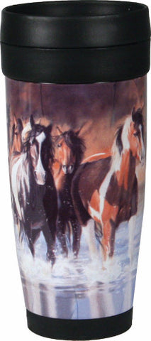 "Heavy Duty Stainless Steel & Plastic Travel Mug - ""Rush Hour"" Horses - SK Tack & Supply"