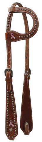 Pink Ribbon Rhinestone One Ear Headstall - SK Tack & Supply