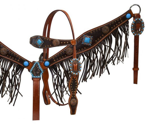Leather Fringed Starburst Concho Headstall & Breast Collar - SK Tack & Supply