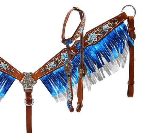 Blue Metallic Fringe & Floral Tooling Headstall & Breast Collar - SK Tack & Supply