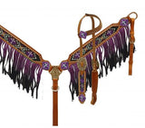 Ombre Fringe Crystal Accented Headstall & Breast Collar - SK Tack & Supply - 4