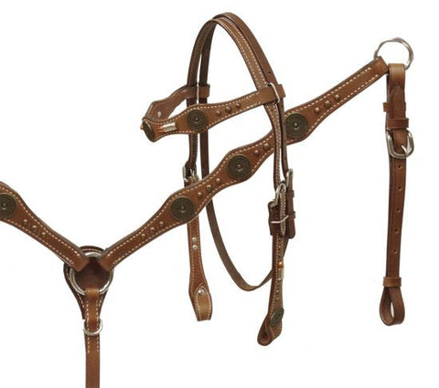12 Gauge Concho Headstall & Breast Collar Set - SK Tack & Supply