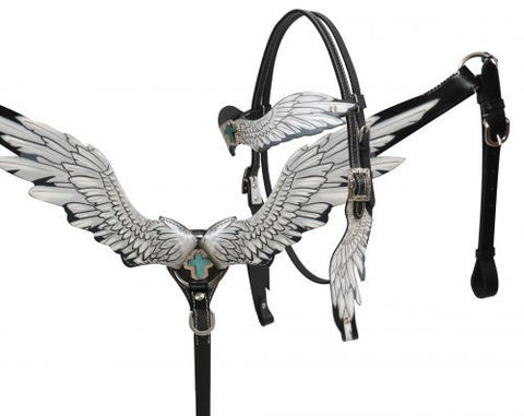 White Angel Wings Headstall & Breast Collar Set