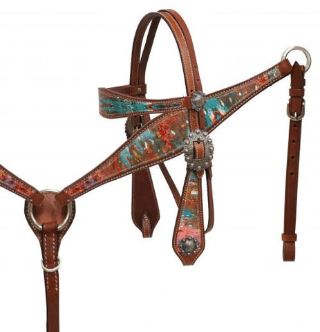 Copper Patina Headstall & Breast Collar - SK Tack & Supply - 1