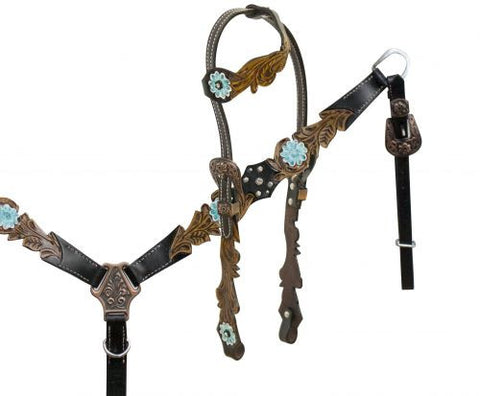 Teal Flower Tooling One Ear Headstall & Breast Collar Set - SK Tack & Supply