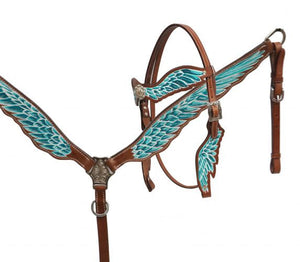 Teal Angel Wings Headstall & Breast Collar Set