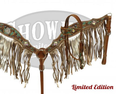 Two Tone Metallic Floral Tooled Headstall & Breast Collar *Limited Edition* - SK Tack & Supply