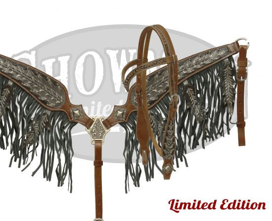 Black Oak Leaf Silver Tooled Headstall & Breast Collar *Limited Edition* - SK Tack & Supply