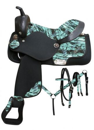 Camo Print Synthetic Western Saddle Set 16
