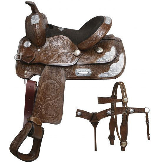Floral Tooled Youth/Pony Show Saddle Set - SK Tack & Supply - 1