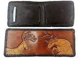 Handmade & Tooled Genuine Leather Wallet - Crafted in WV, Vintage Look, Bi-Fold - SK Tack & Supply - 2