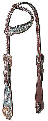 Weaver Leather Savannah Flat Sliding Ear Western Headstall - Swarovski® Crystals - SK Tack & Supply - 1