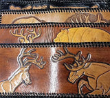 Handmade & Tooled Genuine Leather Wallet - Crafted in WV, Vintage Look, Bi-Fold - SK Tack & Supply - 1