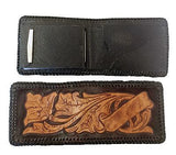 Handmade & Tooled Genuine Leather Wallet - Crafted in WV, Vintage Look, Bi-Fold - SK Tack & Supply - 3