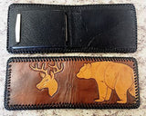 Handmade & Tooled Genuine Leather Wallet - Crafted in WV, Vintage Look, Bi-Fold - SK Tack & Supply - 4