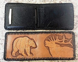 Handmade & Tooled Genuine Leather Wallet - Crafted in WV, Vintage Look, Bi-Fold - SK Tack & Supply - 5