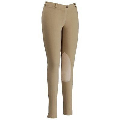TuffRider® Ladies Low Rise Pull On Horse Riding Breeches - Light Tan or Black - SK Tack & Supply - 1