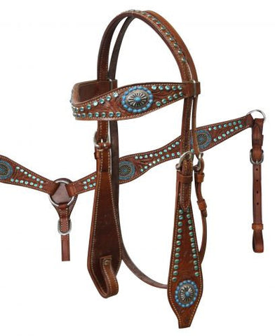 Vintage Turqoise Rhinestone Headstall & Breast Collar Set - SK Tack & Supply