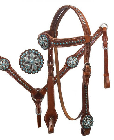 Teal Rhinestone Headstall & Breast Collar Set - SK Tack & Supply - 1