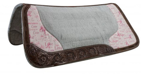 Hope Ribbon Print Leather Trimmed Saddle Pad - SK Tack & Supply