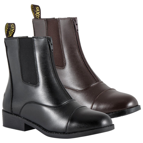 Ladies Saxon Equileather Zip Up Paddock Boots - SK Tack & Supply - 1