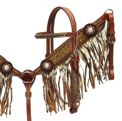Filigree Embossed Gold Shimmer Headstall & Breast Collar Set - SK Tack & Supply