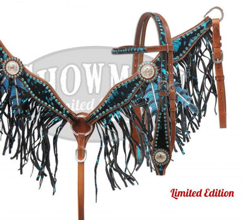 Oak Leaf Suede & Cowhide Headstall & Breast Collar Set *Limited Edition* - SK Tack & Supply