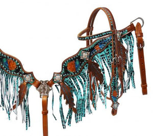 Metallic Turquoise Stone Headstall & Breast Collar Set - SK Tack & Supply