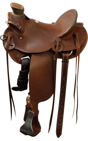 Showman Wade Tree Roping Saddle Medium Oil *Warrantied* - SK Tack & Supply