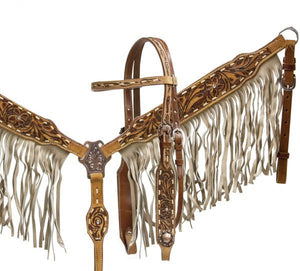 Double Stitched Leather Tooling Headstall & Breast Collar Set - SK Tack & Supply