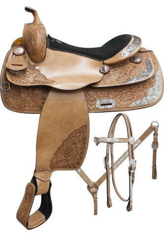 Semi-Tooled Show Saddle Set with Suede Leather Seat - SK Tack & Supply