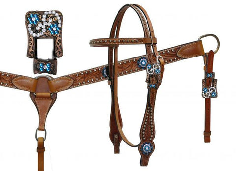 Vintage Buckle & Teal Rhinestone Double Stitched Leather Headstall & Breast Collar Set - SK Tack & Supply