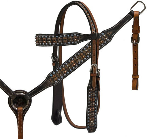 Vintage Studded Leather Headstall & Breast Collar Set - SK Tack & Supply