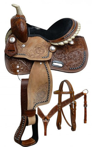 Silver Studded Black Trimmed Pony Saddle Set - SK Tack & Supply - 1