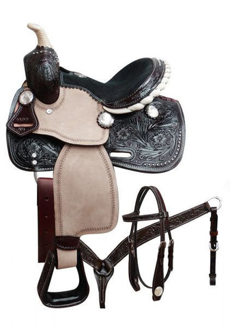 Dark Oil Silver Concho Pony Saddle Set - SK Tack & Supply