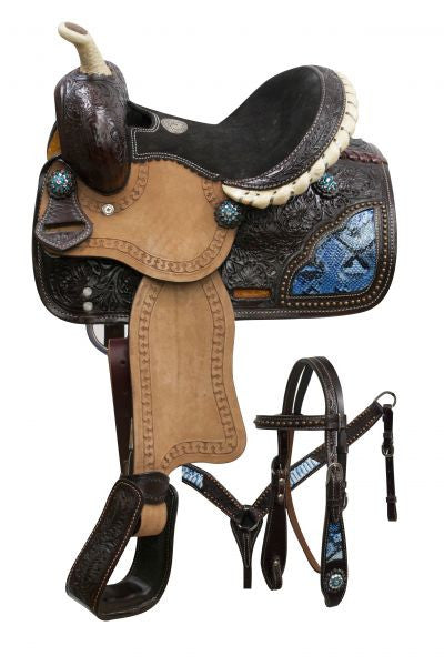 Blue Snake Print Dark Oil Pony Saddle Set - SK Tack & Supply