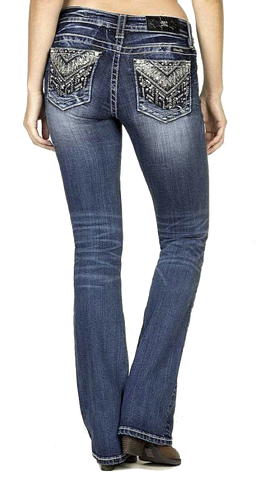 Miss Me Bling Medium Wash Mid-Rise Boocut Jeans - SK Tack & Supply - 1