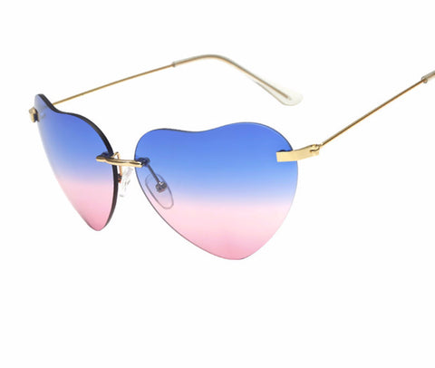 Women's Rimless Heart Shape Sunglasses
