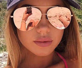 Women's Rose Gold Oversized Mirrored Aviatior Sunglasses