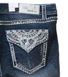 Grace in LA Rhinestone Bling Straight Leg Plus Size Curvy Jeans - Button Pockets - SK Tack & Supply - 1