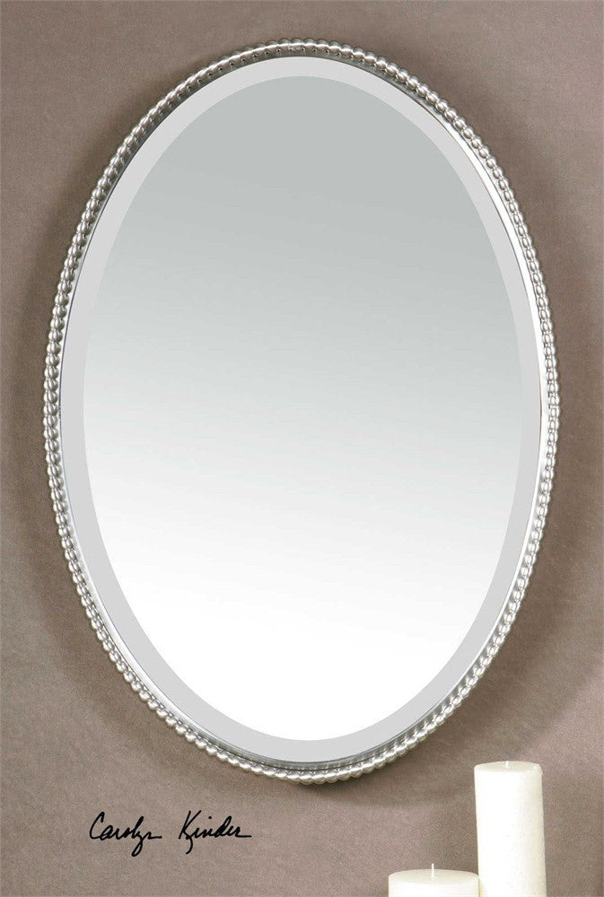 "Brushed Nickel Oval Metal Mirror 22""x32"""