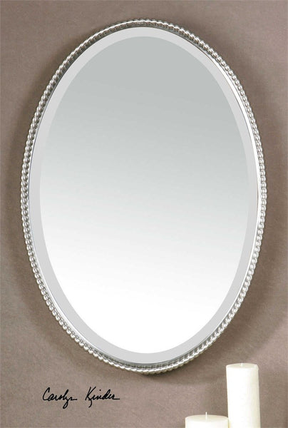 "Brushed Nickel Oval Metal Mirror 22""x32"" - Classy Mirrors"