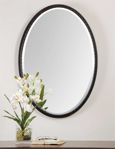 "Casalina Oil Rubbed Bronze Oval Mirror 22""x32""x2"" Bathroom Mirrors Uttermost"