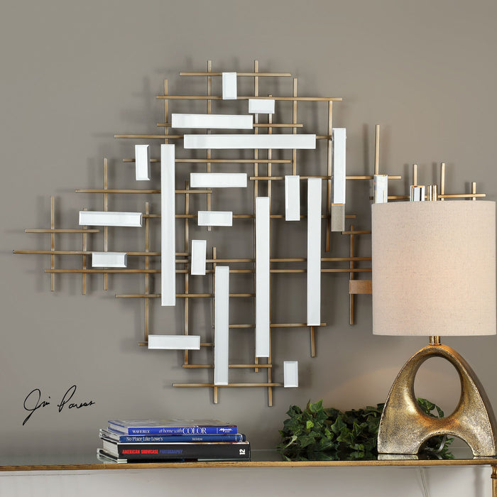 "Apollo Gold & Mirrored Wall Art 46""x33""x2"""